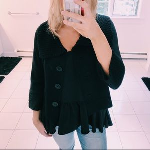 CAbi JACKIE O BLACK CROPPED WOOL CARDIGAN